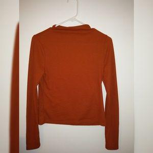 Ribbed Dark Orange Shirt High Neck